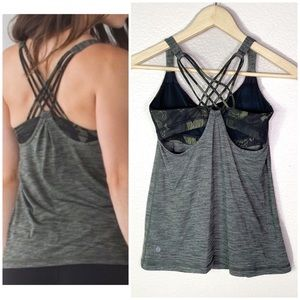 Lululemon•sunset salutation criss cross bra tank